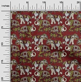 oneOone Georgette Viscose Fabric Elephant Kalamkari Print Fabric BTY 42 Inch Wide