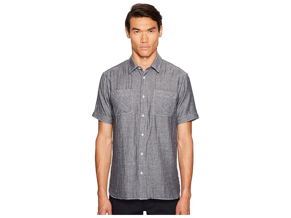 Image of Billy Reid Clarence Short Sleeve Shirt (Navy/White) Men's Clothing