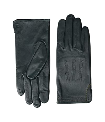 LAUREN Ralph Lauren Brogue Leather Gloves (Spruce) Liner Gloves