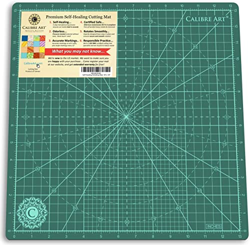 "Calibre Art Rotating Self Healing Cutting Mat, Perfect for Quilting & Art Projects, 14x14 (13"" Grid)"