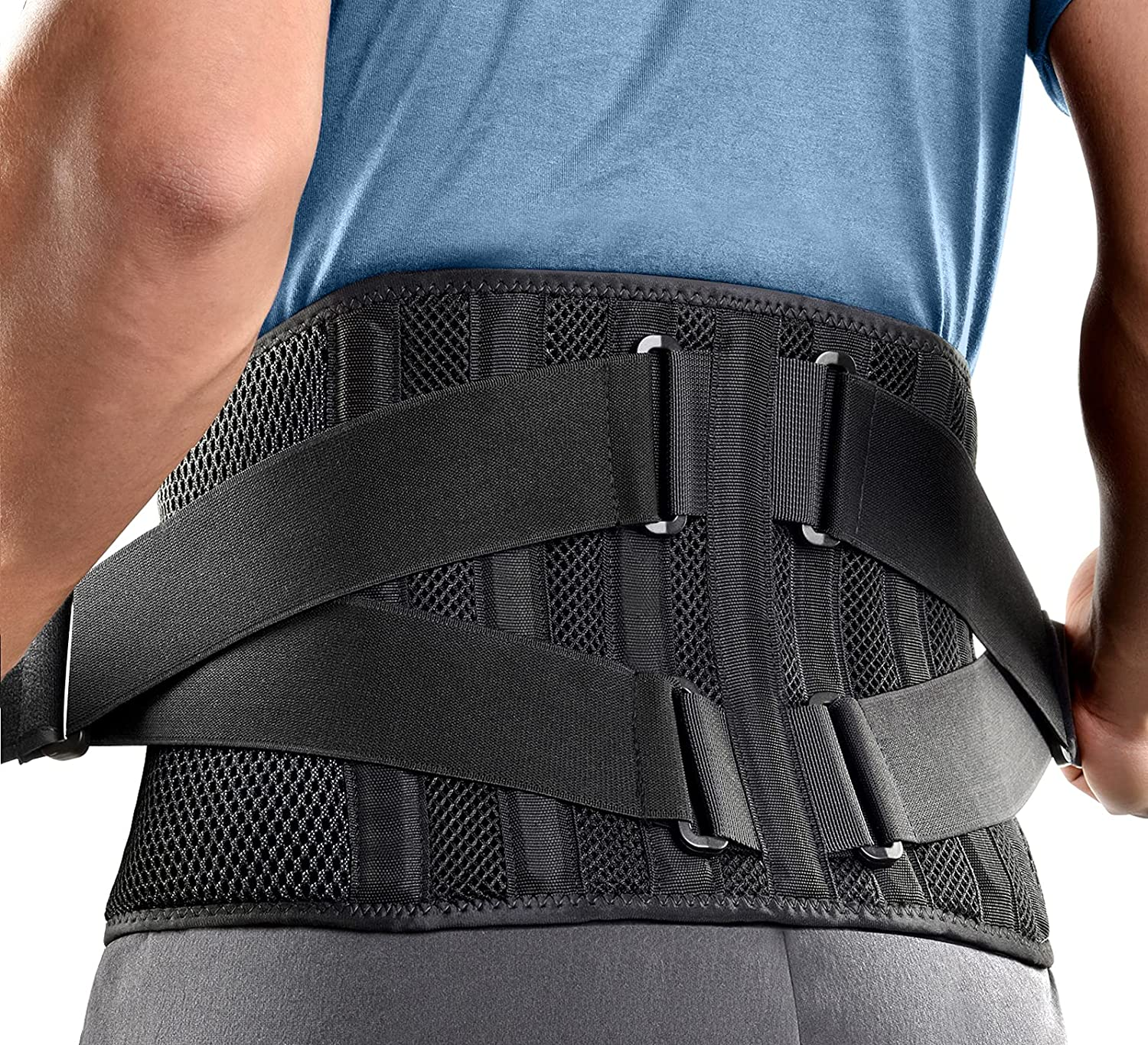 FREETOO Air Mesh Back Brace for Men Women Lower Back Pain Relief with 7 Stays, Adjustable Back Support Belt for Work, Anti-skid Lumbar Support for Sciatica Scoliosis (M(waist:36''-44''), Black): Industrial & Scientific