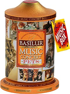Basilur   Pets Music Tin   Music Concert Collection   Pure Ceylon Black Tea with mango, pineapple, strawberry, and cream   Metal Caddy   20 Pyramid Tea Bags   Gift of Tea   Pack of 1