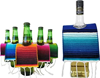 Yani's Gifts 6 Beer Ponchos Mini Serapes and Matching Tequila Bottle Poncho for Day of the Dead or a Mexican Party Fiesta, Beer Covers for a 6 Pack and Large Poncho for Liquor or Margarita Mix Bottles