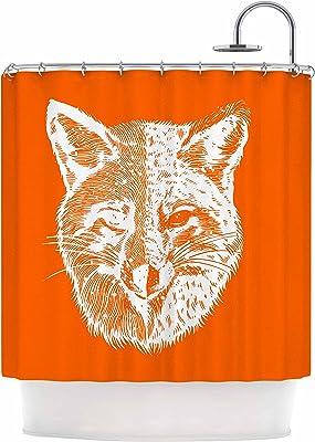 18 by 18 Kess InHouse NL Designs Fox Orange Illustration Throw Pillow