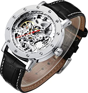 Best Men's Luxury Skeleton Automatic Mechanical Self-Wind Leather Silver Case Analog Watch