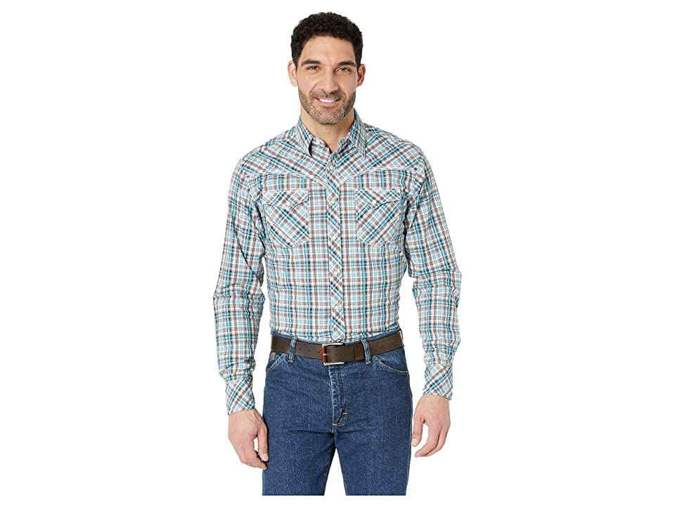 Wrangler Rock 47 Long Sleeve Plaid Snap (Brown/Turquoise) Men's Clothing