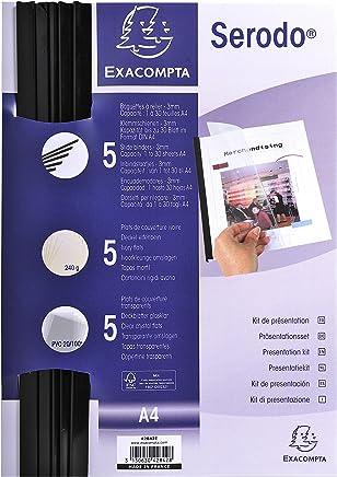 Exacompta 42842E Kit de Reliure Manuelle pour 5 Dossiers Noir/Ivoire