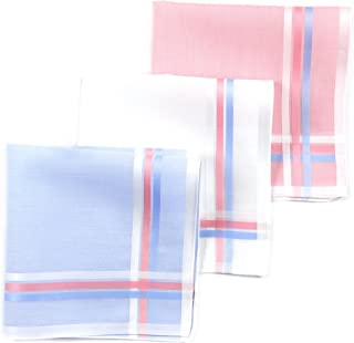 Lehner Switzerland Women's Pink, Blue and White Fancy Woven Cotton Satin Band Handkerchiefs (Set of 3)