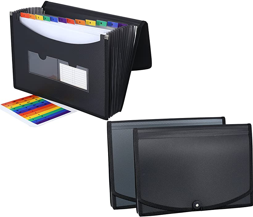 DecoBros 2 Pack Poly Frequency Expanding 13 Pockets File Folder, Letter Size, Black/Gray