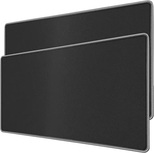 RiaTech Extended Mouse Pad with Stitched Embroidery Edge, for Laptop, Computer and PC (Black with Grey Border, Large ...