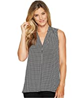 Vince Camuto - Sleeveless Petite Houndstooth Center Front Seam V-Neck Top