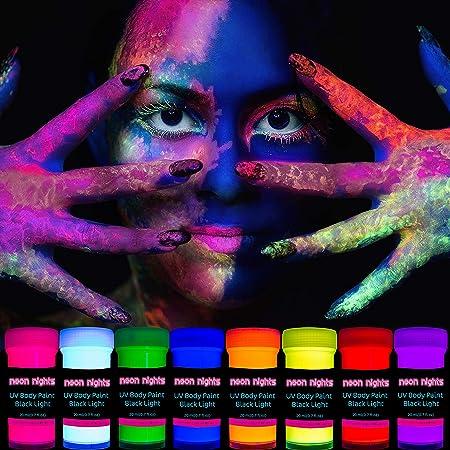 neon nights 8 x UV Body Paint Set | Black Light Glow Makeup Kit | Fluorescent Face Paints for Halloween Blacklight Bodypainting
