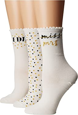 Kate Spade New York - 3-Pack Boxed I Do Bridal Crew Socks