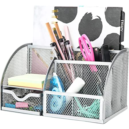 EXERZ Desk Organiser/Mesh Desk Tidy Caddy/Pen Holder/Multifunctional Organiser with 7 Compartments - Silver