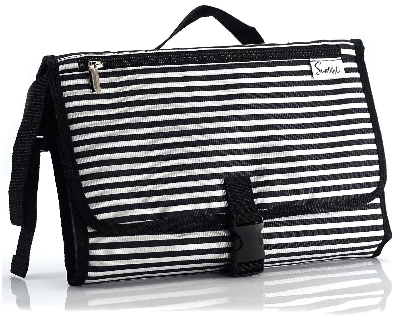 Simplily Co. Baby Portable Travel Diaper Changing Station Mat Pad Clutch Bag (Black & White Stripes)