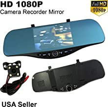 5.2 in Full HD 1080P Blue 300mm Auto Front/Back Up Reverse Rear Camera Video Recorder Rearview Rear-View Interior Mirror
