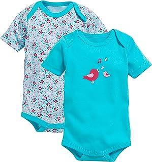 Schnizler Baby-Mädchen Body kurzarm, 2er Pack Vögelchen, Oeko-Tex Standard 100