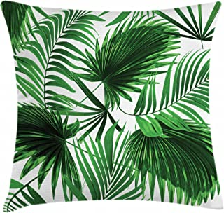 Ambesonne Palm Leaf Throw Pillow Cushion Cover, Realistic Vivid Leaves of Palm Tree Growth Ecology Lush Botany Themed Print, Decorative Square Accent Pillow Case, 18
