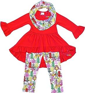 Angeline Boutique Clothing Girls Tunic Legging Scarf Set - Santa Reindeer Snowman