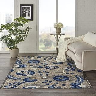 Nourison Aloha Indoor/Outdoor Floral Natural/Blue 3'6