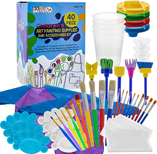 U.S. Art Supply 40-Piece Children's Art Painting Supplies and Accessories Kit - 25 Flat, Round, Foam Tipped Brushes, ...