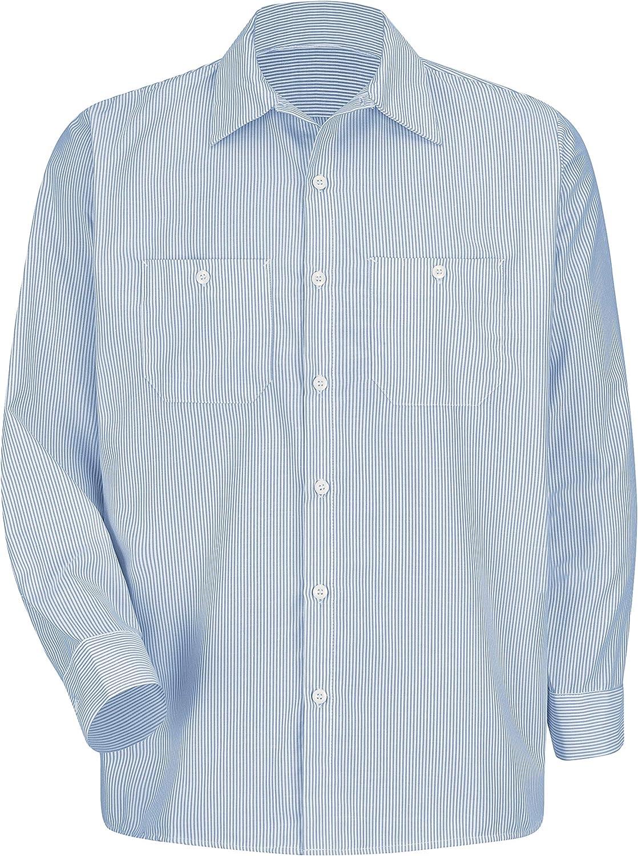 Red Kap Men's RK Industrial Stripe Long Sleeve Work Shirt