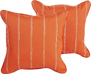 Mozaic Company Indoor/ Outdoor 16-inch Corded Pillow, Orange Dotted Stripes, Set of 2