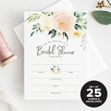 25 Bridal Shower Invitations with Envelopes —coral and greenery watercolor floral fill-in style invites from Bliss Collections (25 Pack)