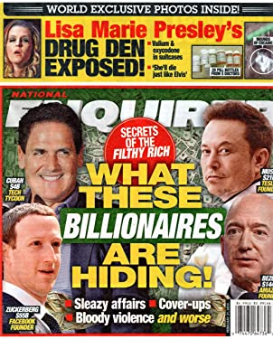 National Enquirer Magazine February 21 2019 Elon Musk Jeff Bezos Mark Zuckerberg Mark Cuban Lisa Marie Presley