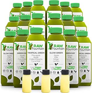 RAW Fountain 5 Day Green Juice Cleanse, 100% Raw Natural Vegan Detox, Cold Pressed Juices, 30 Bottles 16oz + 5 Ginger Shots