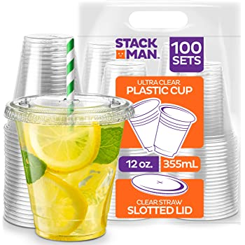 Stack Man PET12-98SS-100 [100 Sets - 12 oz.] Clear Plastic Cups with Straw Slot Lid, PET Crystal Clear Disposable 12oz Plastic Cups with lids