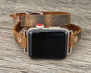 Distressed Brown Leather Rose Gold Jewelry Bracelet for Apple Watch 38 40 42 44mm iWatch Band Artisan Double Tour Wrap Adjustable Size Strap Women Fashion Wristband