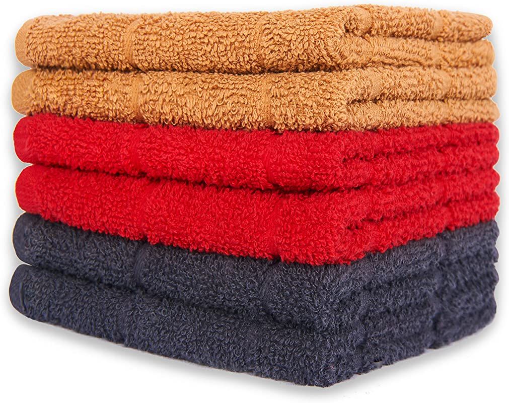 ISTOWEL 6 Pack Kitchen Towels Set 100 Turkish Cotton Dish Towels And Dishcloths 12 X 12 In Vibrant Blue Red Brown Soft Absorbent Fast Drying Terry Hand Tea Towels For Mess Free Cooking