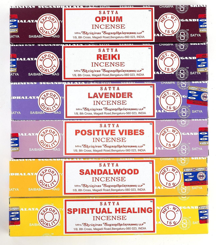 シーンなぜなら開発するNag Champa 6?Piece Variety Pack?–?Opium、レイキ、ラベンダー、Positive Vibes、サンダルウッド、Spiritual Healing