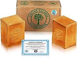 Grüne Valerie® Original Aleppo Seife Set 2 x 200g (400g) mit 20%/80% Lorbeeröl/Olivenöl, PH Wert 8, Handarbeit, 6 Jahre...