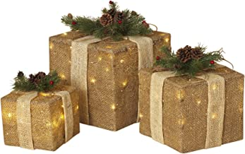 Set of 3 Large Lighted Burlap Holiday Gift Boxes - Indoor Christmas Decoration