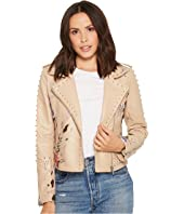 Floral Embroidered Studded Moto Jacket in Natural Romance