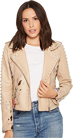 Blank NYC Floral Embroidered Studded Moto Jacket in Natural Romance