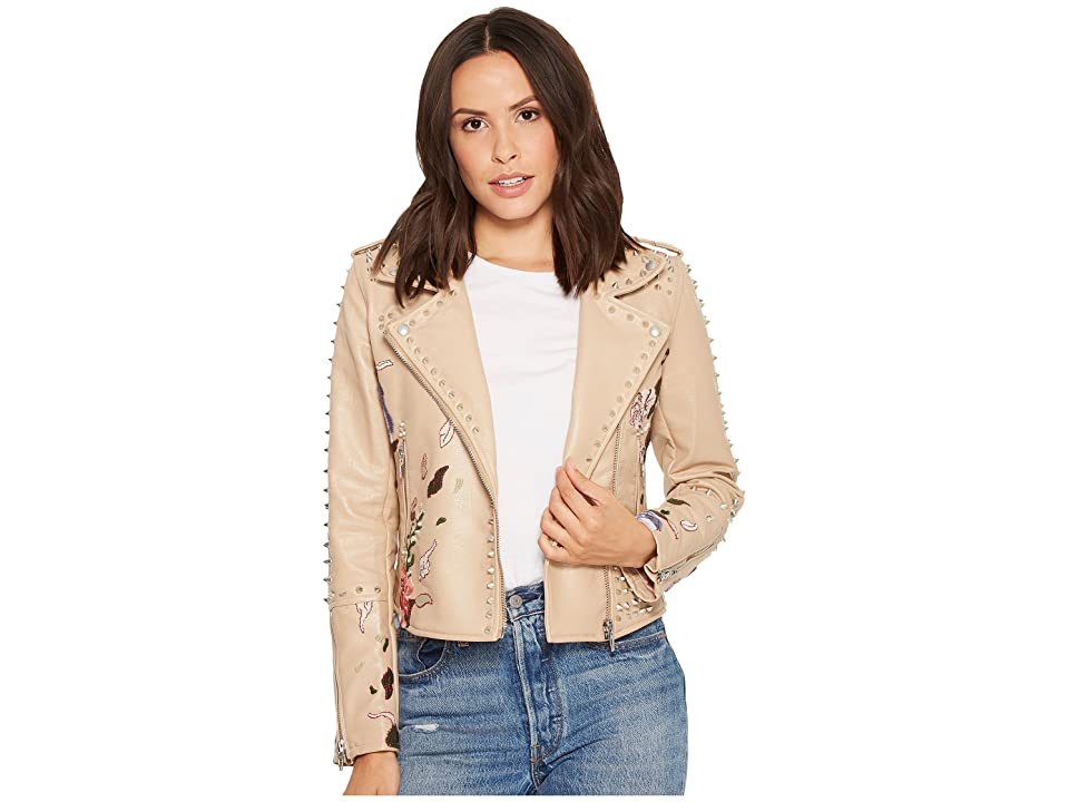 Blank NYC Floral Embroidered Studded Moto Jacket in Natural Romance (Natural Romance) Women