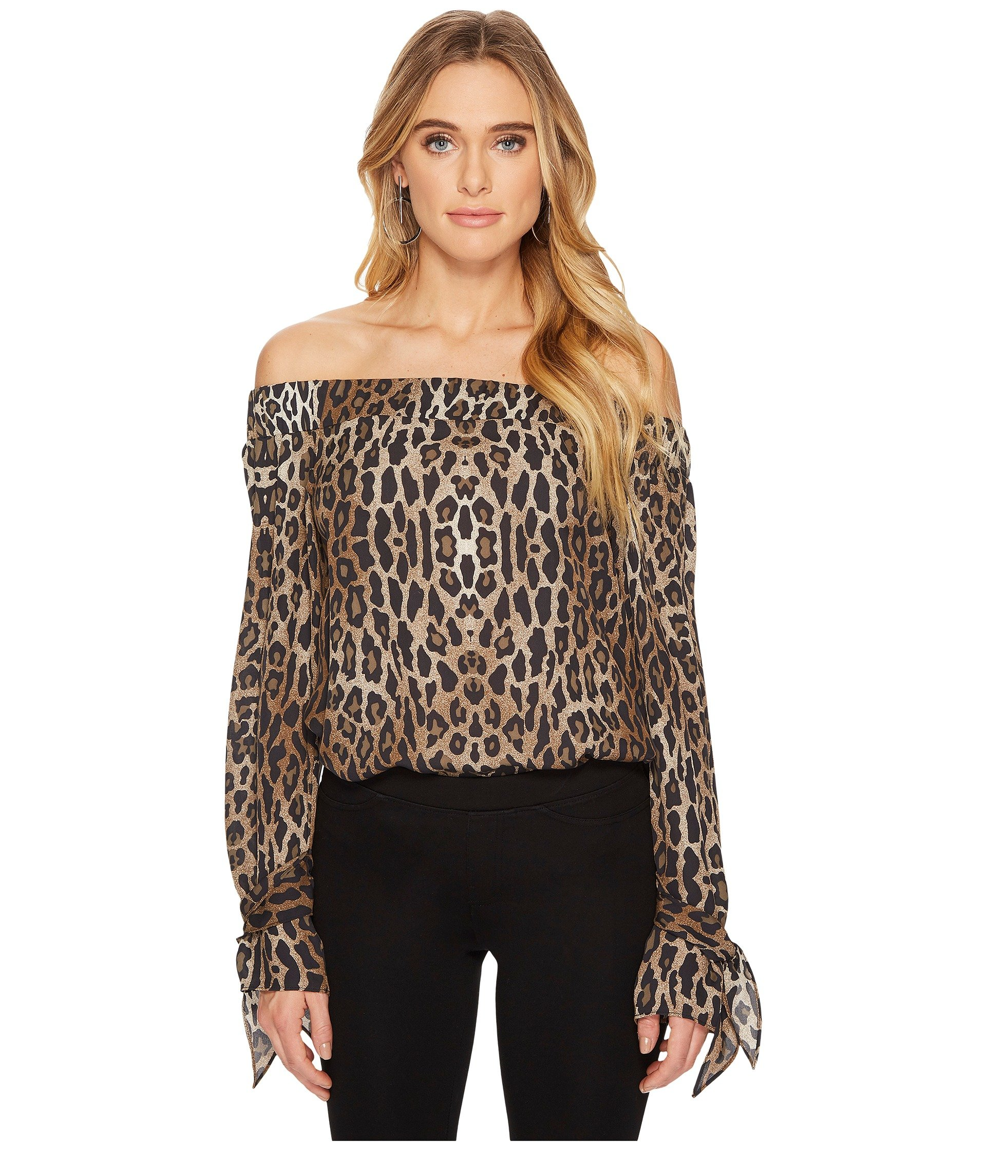 HEATHER Lita Off The Shoulder Blouse, Cheetah