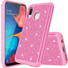 for Samsung Galaxy A10E Phone Case + Temper Glass Glitter Quicksand Sparkle Bling Bling Case for Girls/Women