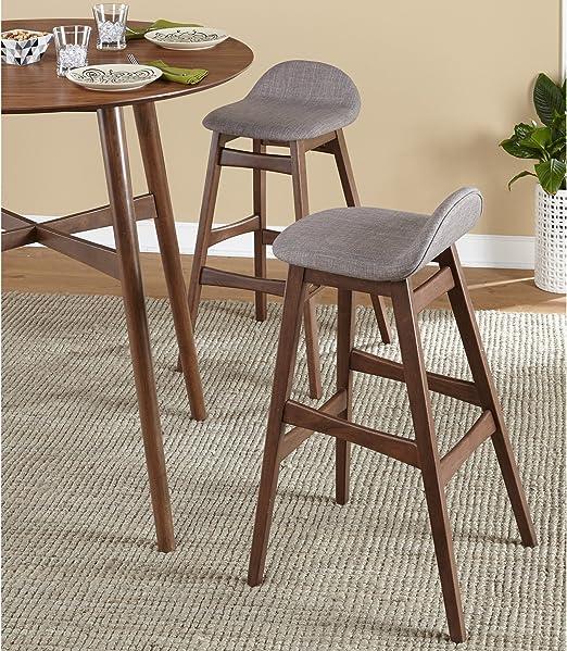 Amazon Com Mattsglobal Mid Century Modern 30 Inch Barstool Set Of 2 Grey Furniture Decor