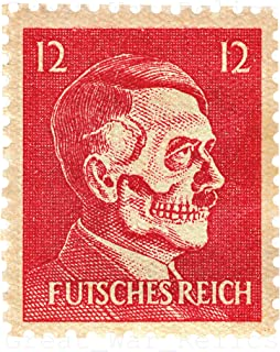 UpCrafts Studio Design WW2 anti German Propaganda Postage Stamp Poster - WWII American anti Hitler Propaganda Posters Replica Military wall art decor (11.7 x 16.5)