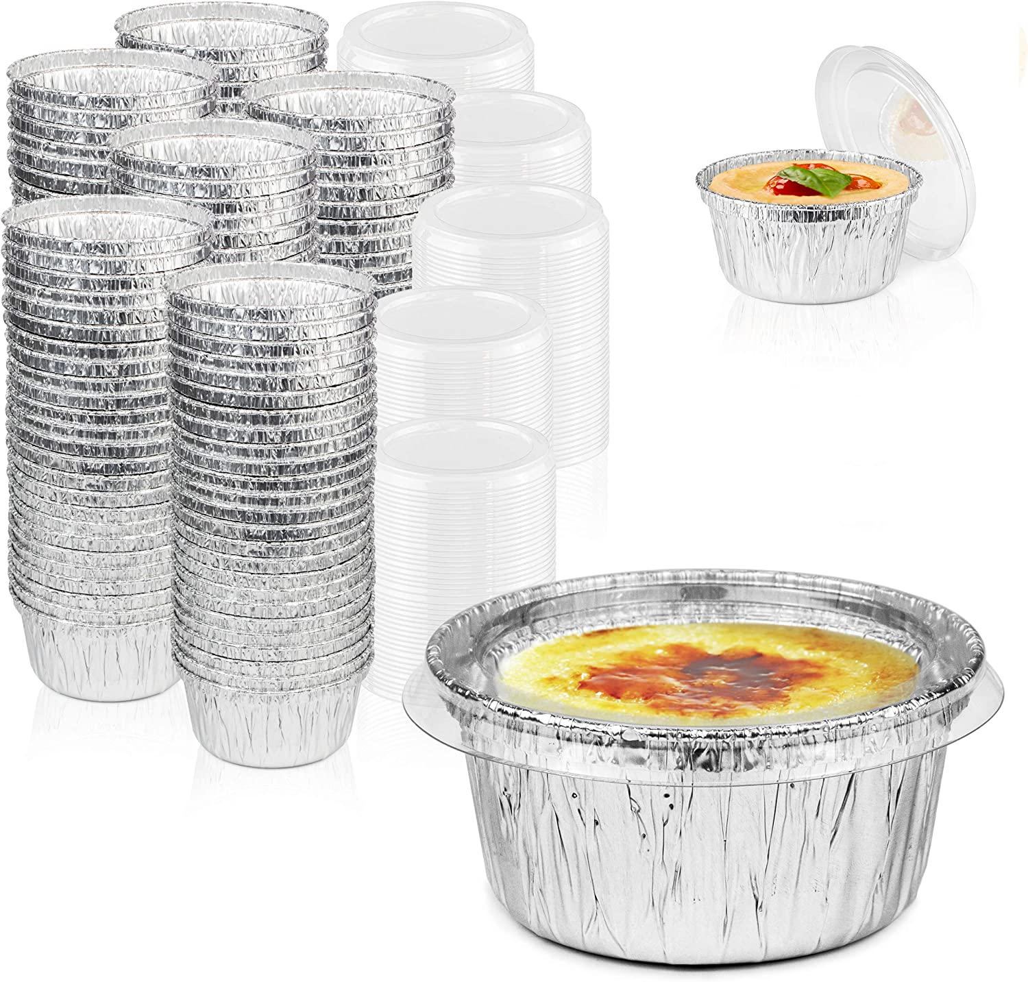 4 oz Aluminum Custard Cups with Lids Disposable Foil Baking Cups for Creme Brulee or Cupcake Disposable Foil Ramekins with Lids 50 Pack