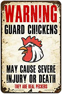 Funny HAHA USA Warning Guard Chicken Funny Metal Sign Aluminum, 7.75 x 11.75 inches by Funny HAHA