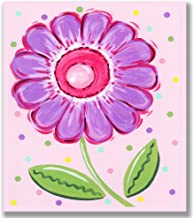The Kids Room by Stupell Purple Flower with Polka Dots Rectangle Wall Plaque