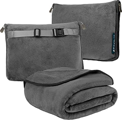PAVILIA Travel Blanket and Pillow, Dual Zippers, Clip On Strap  Warm Soft Fleece 2-IN-1 Combo Blanket Airplane, Camping, Car  Large Compact Blanket Set, Luggage Backpack Strap, 60 x 43 (Charcoal Gray)