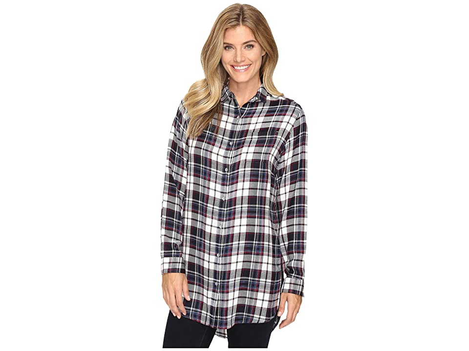 Jag Jeans Magnolia Tunic in Yarn-Dye Rayon Plaid (Navy Plaid) Women