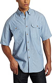 Men's Fort Short-Sleeve Shirt Lightweight Chambray Button-Front S200