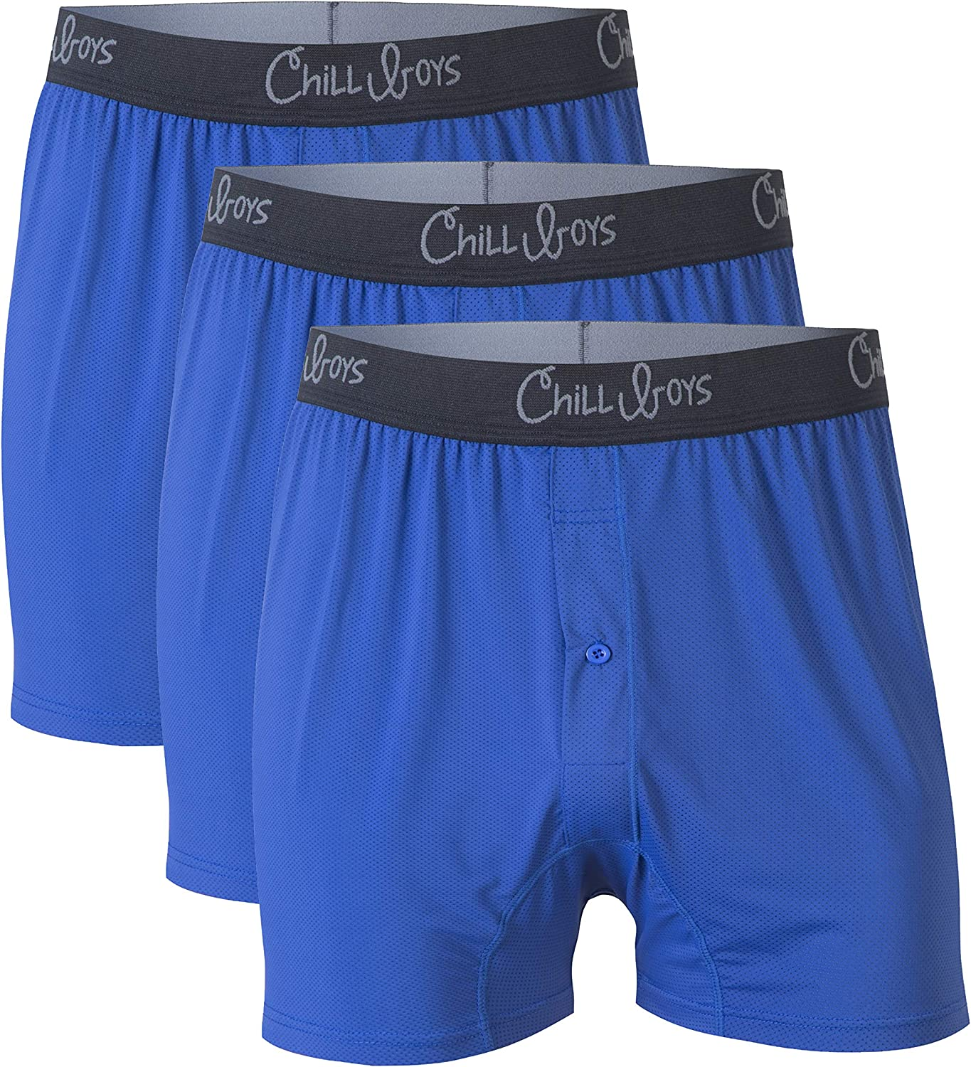 Mens Cool Comfortable Performance Boxers- 3 pack, Breathable Underwear, Soft Quick-Dry Boxer Shorts by Chill Boys